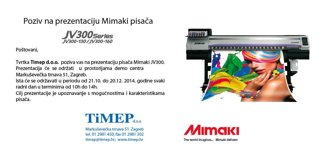 Timep – Poziv na prezentaciju Mimaki JV300 pisača
